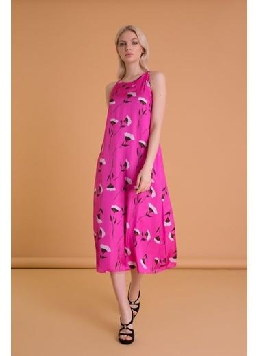 GIZIA Çiçekli Kolsuz Elbise Fuşya
